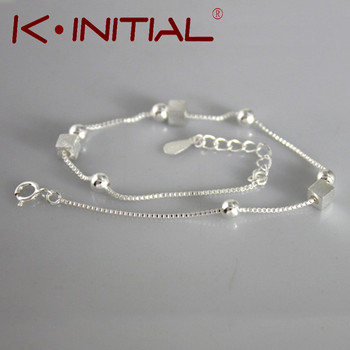 Kinitial 1Pcs New Cubes Ball Bracelet Bangle for Women Wedding Gift 925 Silver Fashion Beads Charm Cuff Bijoux Bracelets Jewelry