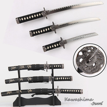 Bushido Musashi 3pcs Set Mini Swords With Wooden Stand Carbon Steel Replica  Movie The Last Samurai Letter Opener