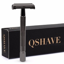 Double Edge Safety Razor Long Handle Butterfly Qshave Open Classic Safety Razor weishi Gunblack color, 1 Handle & 5 blades