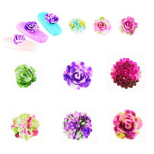 100 Pcs/lot Latest Japanese Nail Art Newest 3D Korea Trending Style Resin Roses Acrylic Artificial Flowers