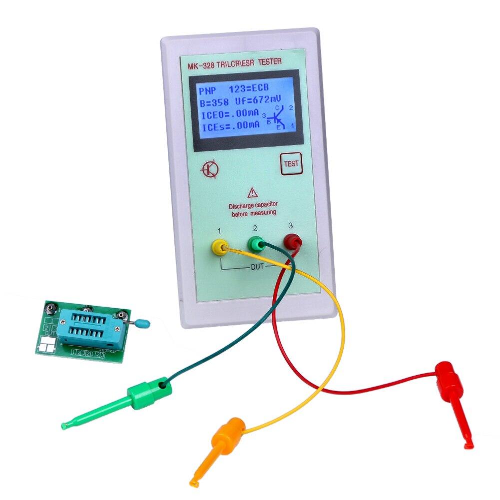 New Transistor Tester Portable MK328 LCD NPN/PNP Transistor Tester Diode Inductance Capacitance Resistance ESR Meter Tools 9V<br>