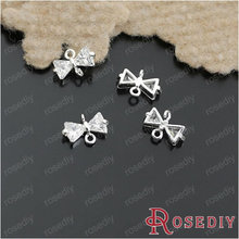 Wholesale 10*6mm Silver color Bow Copper Base with Class A White Zircon Connectors Diy Jewelry Findings 2 Pieces(JM5437)