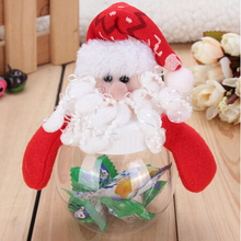 1pcs Mini Santa Clear Plastic Candy Bag Gift Storage Bottle Holder Xmas Decor Christmas Candy Bottle for Christmas Gift(China)