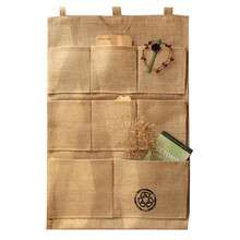 1pcs Linen 8 Pockets Hanging Storage Bags Door Wall Mounted Sundries Clothing Jewelry Closet Organizer Bags(China)