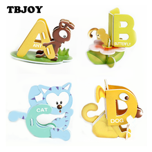 26Pcs/Set Baby DIY Assembling Paper Cartoon Animals 3D Jigsaw Puzzles 26 Alphabet Letters Toys Montesorri Early Learning Kid Toy(China)
