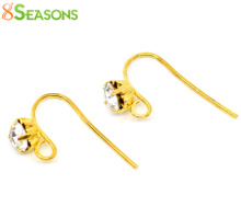 8SEASONS Gold color Rhinestone Earwire Hooks with Loop 18x12mm,sold per packet of 25 pairs 2015 new