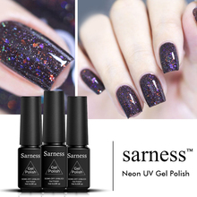 Sarness 19 Colors Neon Color Sequins UV Gel Led Need Rubber Base and Top Soak Off Shiny Glitter Nail Gel Polish