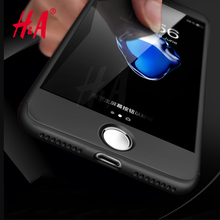 H&A 360 Degree Full Cover Red Cases For iPhone 6 6s 7 Plus 5 5s Case Cover For iphone 7 7 Plus 6 5 5s Protection Case + Glass