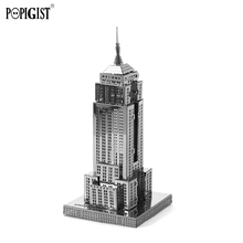 POPIGIST Fun 3D Metal Puzzle DIY Mini Model Nano Architecture Empire State Building Adult Kids Educational Craft Childs Toy Gift