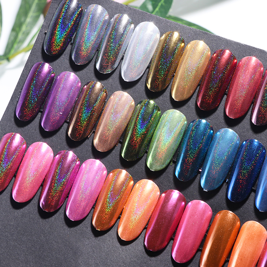 1pc Holographic Mirror Powder Rose Gold Metallic Laser Chrome Nail Powder Glitter Flakes DIP Pigment Nails Accessoires Dust  (10)