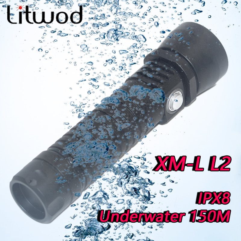 Litwod z30D26 Diving Led Flashlight Torch Light XM-L L2 ON / OFF Stepless Dimming Waterproof Underwater 150m by 26650 Battery<br>