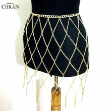 Chran 2017 Fashion Gold Belly Chains Tassel Waist Belt Exaggerated Fringed Bikini Wear Skirt Sexy Celebrity Runway Dress CRBJ906