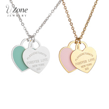 Famous Brand Blue Pink Heart Pendant Necklaces 316L Stainless Steel Necklace For Women Gift Luxury Jewelry