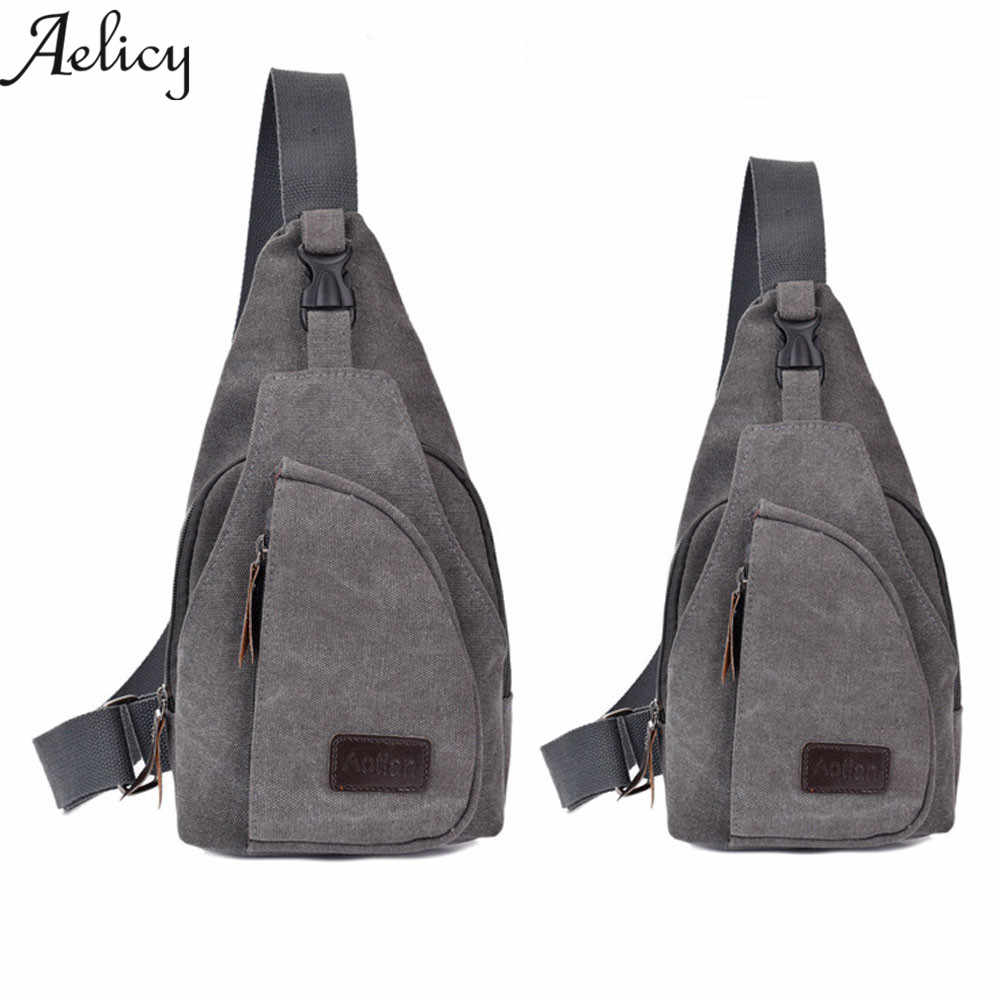 ac68edec27 Aelicy Women MEN Casual Canvas Unbalance Shoulder Bag Casual Functional Men  Chest Pack sling bag Men