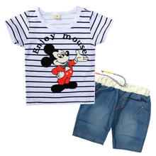 2PCS Kids Clothes Summer 2017 New Striped Toddler Boys Clothes Set Cartoon Mickey Cotton Children Clothing Boutique Suit JF01