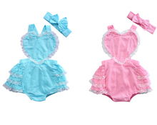 Sweet Newborn Baby Clothes Girls Lace Ruffle Love Heart Party Romper Handband 2pcs Outfits Summer Baby Onesie Baby Girl Romper
