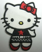 Black Red Star Hello Kitty Embroidery Patches Sew or Iron On Clothes Tee Shirt Hat Jean shoes Pet Clothing Red Black
