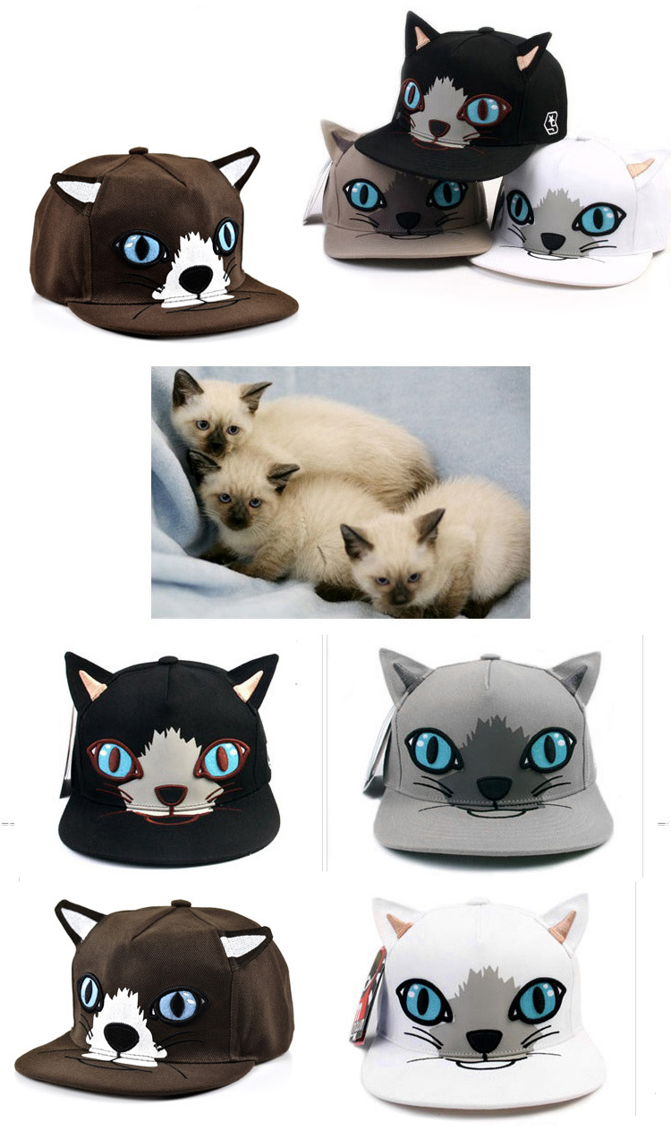 Composite Bats Bluelans Girls' Cat Ear Hip-hop Flat-brimmed Hat Cap Adjustable Baseball Cap Snapback