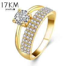 17KM Brand Ring For Women Gold Color Shinning Crystal CZ Zircon Women 2017 New Wedding Ring Bridal Double Finger Ring Gift