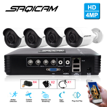 Saqicam 4CH 4MP HD Video Security System CCTV DVR Kit 4PCS Outdoor 1440P 4.0MP Weatherproof Surveillance Security Camera System