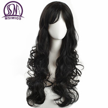 MSIWIGS Black Color Synthetic Wavy Wigs for Women Glueless Long Natural Afro Wig Hair with Bangs Heat Resistant Fiber