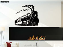 Mad World-Vintage Retro STEAM TRAIN Silhouette Wall Art Stickers Wall Decal Home DIY Decoration Removable Decor Wall Stickers