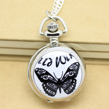 Silver Black White Butterfly Pocket Watch Necklace, 2.7cm
