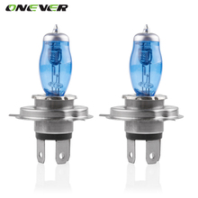 Onever 2pcs  12V 100W H4 Auto Car HOD Halogen Bulbs Xenon Gas Super Bright White Car Headlight Light Fog Lights Lamp Bulbs