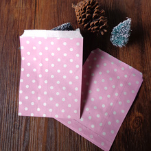 100pcs Zakka Dots Paper Bags Strung Food Quality Craft Favor Candy Snack Bag Gift Treat Paper Bag Party Favor 5 x 7inch