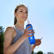 250ML 500MLOutdoors Foldable Blue Water Bottle Traveling Sport Running Cycling Kettle Healthy Soft Material Hiking Camping Jug(China)