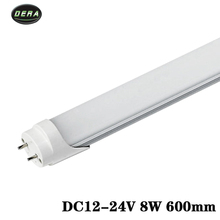 4pcs T8 2FT 600mm 8w LED tube light SMD 2835 Super Brightness DC12-24v lamparas led fluorescent lamp tubes 600mm/590mm free ship