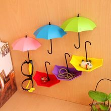 3 PCS Colorful Umbrella Wall Hook Shelf Key Hair Pin Holder Organizer Decorative Convenient Decoration Wall Items