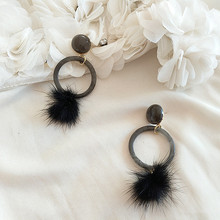 Japan Korea jewelry circular resin color Mink velvet winter temperament elegant stud earrings clip earrings(China)