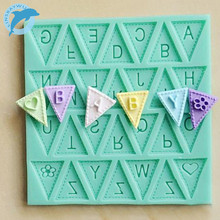 LINSBAYWU cooking tools Flag Shape 26 English Letters Silicone Mold Chocolate Fondant Cake Decorating Tools   Free shipping