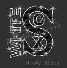 Free shipping  hot fix rhinestones Iron on heat transfer  Sport Logo Sox  Rhinestone design white with black