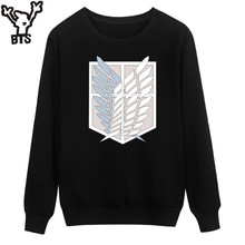 BTS Attack On Titans Sweatshirt Men Hoodie Autumn Fashion Funny Cartoon Capless Hoodies Kids Japan Popular Anime Revie Clothes(China)