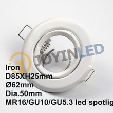 20pcs/lot Free Shipping Aluminum downlight Fitting trims recessed LED Ceiling Lamp Holder GU10/MR16 Round Fixtures