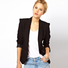 New women spring fashion black blazer simple lapel double breasted long sleeve slim womens blazers suits ZJ1053