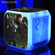 How to Train Your Dragon Alarm Clocks,Glowing LED Color Change flashing light Digital Alarm Clock for Kids gift toys doll