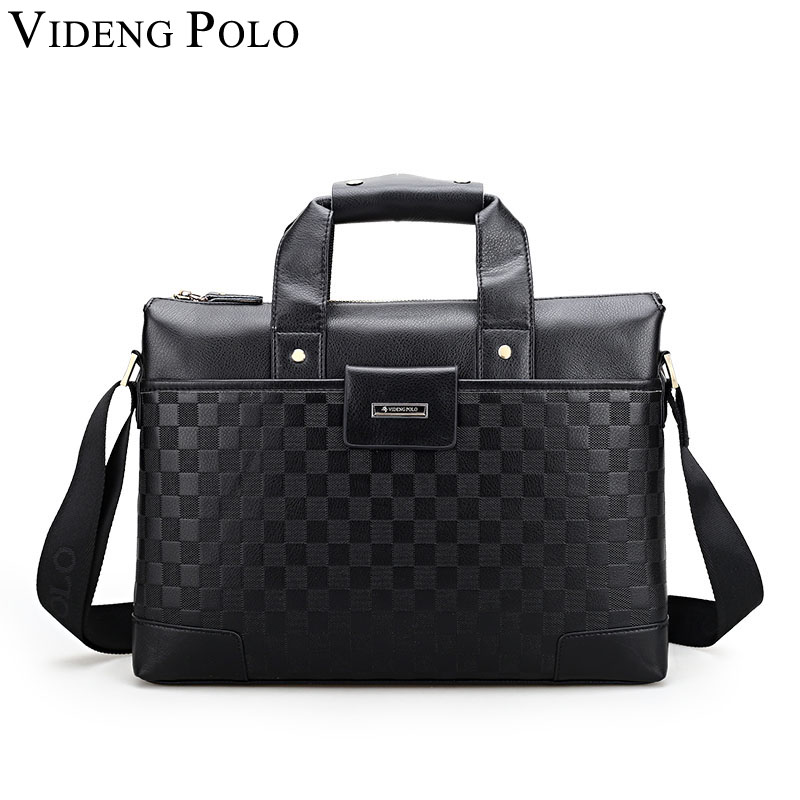 VIDENG POLO business briefcase leather handbag tote luxury brand shoulder bag men top-handle messenger crossbody work bag black<br>