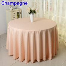 Champagne colour wedding table cover table cloth polyester table linen hotel banquet party round tables decoration wholesale