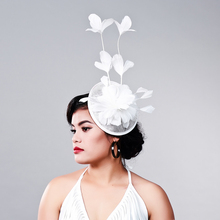 Multiple color Elegant Ladies sinamay fascinator headwear feather party show hair accessories millinery cocktail hats headpieces(China)