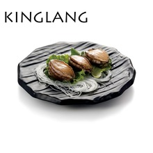 Round imitation wooden board melamine frost black color plate sushi dish wholesale tableware suppliers(China)