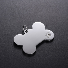 100pcs/lot Stainless Steel Rhinestone Round/Bone/Heart  Dog Tag Pendants Stamping Blanks Pendants For Necklaces DIY Jewelry