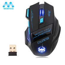 MEMTEQ 2.4G Rechargeable Wireless Mouse Optical Mouse 6 Buttons 2400DPI Computer Mouse LED ECHTPower Nighthawk F14 LED 7D Gaming(China)