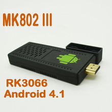 by dhl or ems 100 pieces Android 4.1.1 Mini PC UG802 Dual Core RK3066 Cortex-A9 Stick MK802 III Player tv stick
