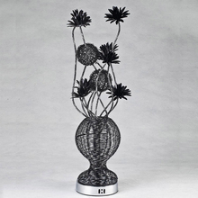 Free Shipping lowest price aluminum string flower vase table lamp novel hand made G4*4 decor table lamp bedroom decor lighting(China)