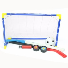 2 in 1 Outdoor/Indoor Kids Sports Soccer & Ice Hockey Goals with Balls and Pump Practice Scrimmage Game Football Toy Set(China)