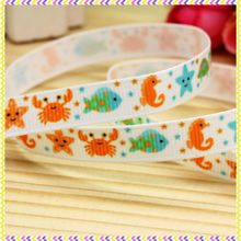 3/8'' Free shipping sea animals printed grosgrain ribbon headwear hair bow diy party decoration wholesale OEM 9mm B1033(China)