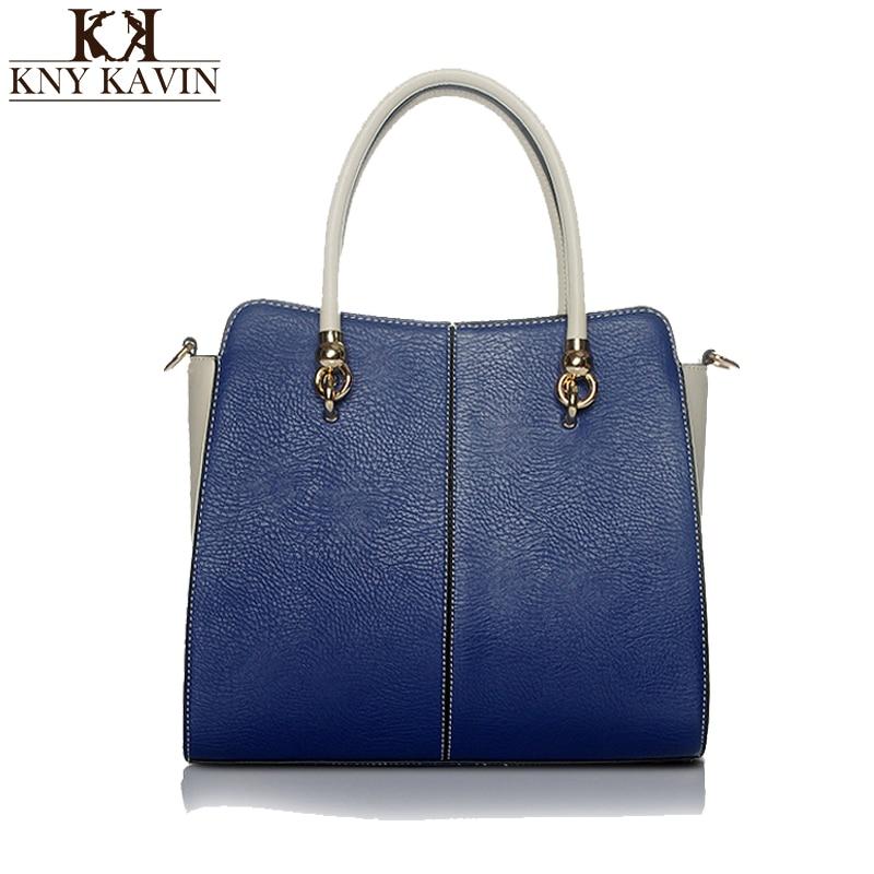 KNY KAVIN Leather Bags Handbag Women Famous Brands Big Capacity Handbags Casual Patchwok Shoulder Bag Ladies Bolsos Mujer<br>